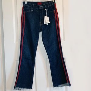 MOTHER The Insider Crop Step Fray Stripe Jeans